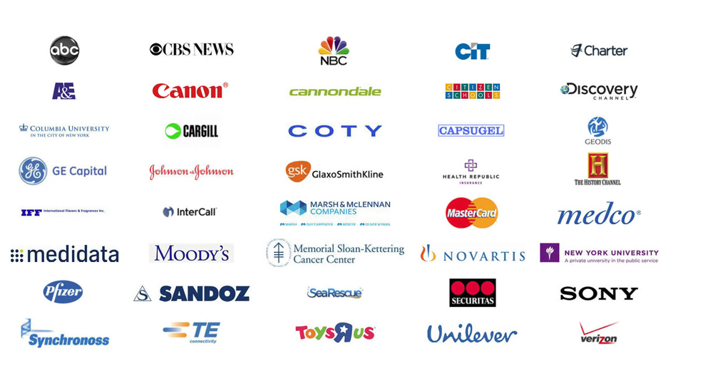 Full client list includes ABC, CBS News, NBC, CIT, Charter, A&E, Canon, Discover Channel